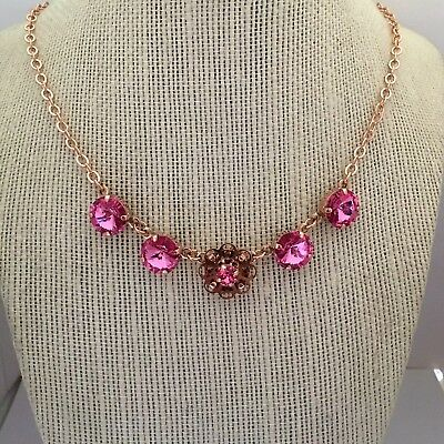 Gold-plated Cup (12mm Rivoli Rose Gold Plated Cup Chain Necklace With Swarovski Crystal )