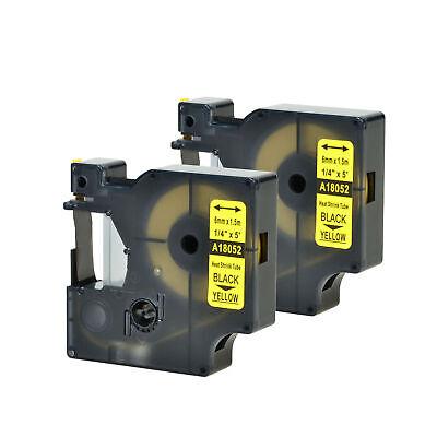 2 Pk For Dymo Rhino 4200 18052 Heat-shrink Tube Black On Yellow Label Tape 14