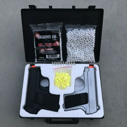 Airsoft Gun Pistols Spring Black & Silver Combo Set w/ Plastic Case free 2000BB
