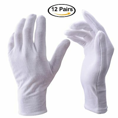 White Gloves Zealor 12 Pairs Soft Cotton Gloves Coin Jewelry Silver Inspection