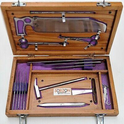 Post Mortem Instrument Set Autopsy Dissection Kit Anatomy 19pcs Wooden Box