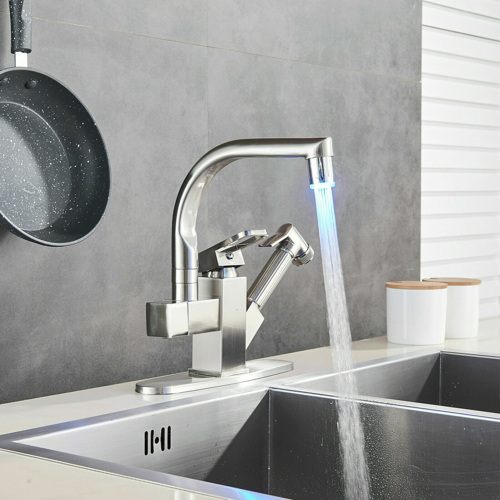 Modern LED Kitchen Sink Faucet Pull Out Sprayer Single Hole Tap W/Plate -Brushed Nickel