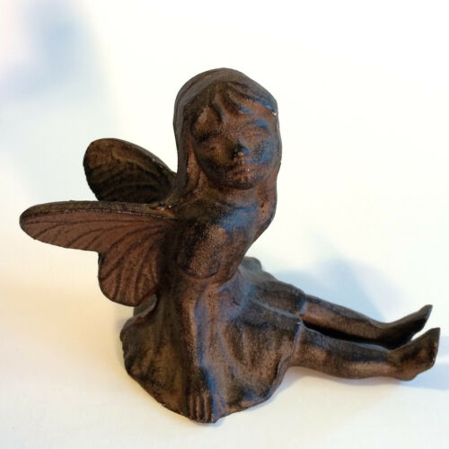 Beautiful Patina Heavy Vintage Easter Cast Iron Garden Pixie Girl Fairy - VGC
