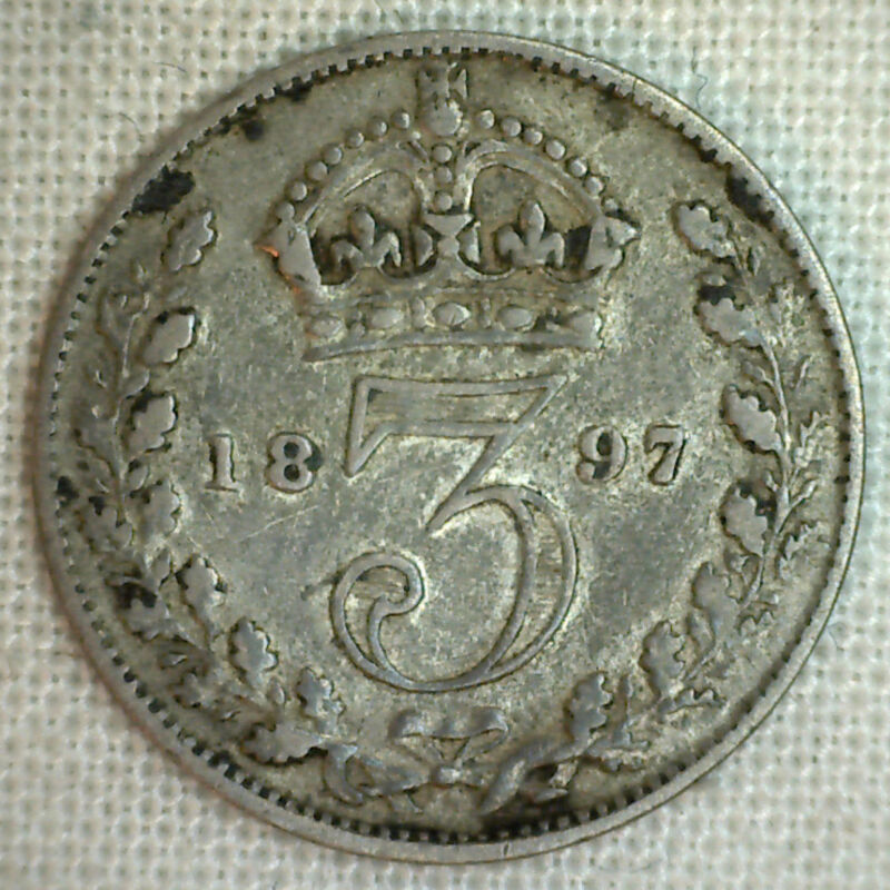 1897 Silver 3 Pence Great Britain UK English Coin VF #P