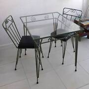 Vintage Sage Green Wrought Iron Glass Table and Chairs Antique Mount Lawley Stirling Area Preview