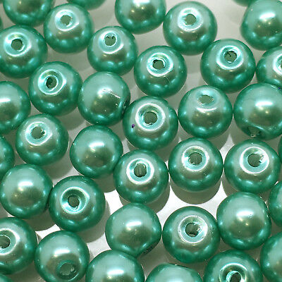 10mm Glass faux Pearls - Spearmint green - 40 beads, jewellery making, craft