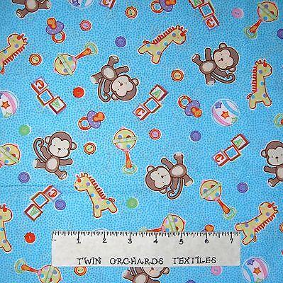 Fabric Baby Ball (Nursery Baby Fabric - Baby Talk Toy Ball Blocks Monkey Blue - Fabri-Quilt YARD )