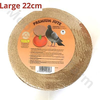 10 pk LARGE JUTE ROUND NEST FELTS/LINERS FOR PIGEON EXOTIC BIRD NESTING PAN BOWL