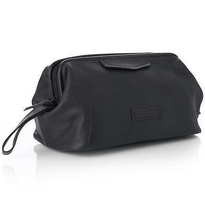 Alpine Swiss Lauter Toiletry Bag Genuine Leather Shaving Kit