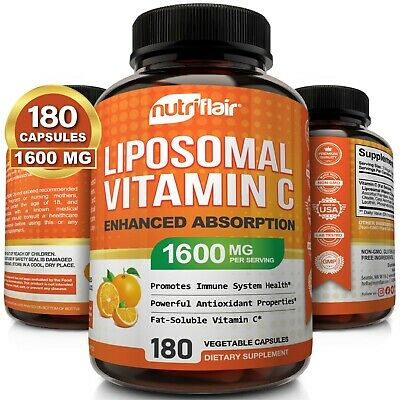 NutriFlair Liposomal Vitamin C 1600mg, 180 Capsules Fat Soluble Vit Supplements