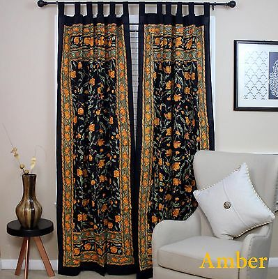 Handmade French Floral Tab Top Curtain 100% Cotton Drape Door Panel Black - Cotton Tab Top Curtain
