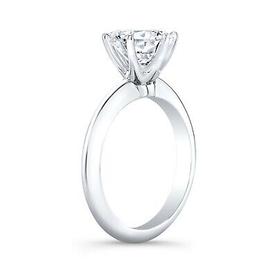 2.00 Ct Round Cut Diamond Knife Edge 6-Prong Engagement Ring H,VS1 GIA Platinum 1