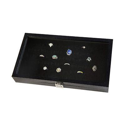Huji Glass Top Ring Display Showcase With Velvet Insert Liner Jewelry Organiz...