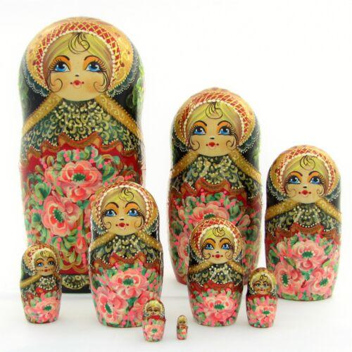 9 Poupées russes H24 peint main signé Matriochka Nested Doll Matrioshka Gigogne