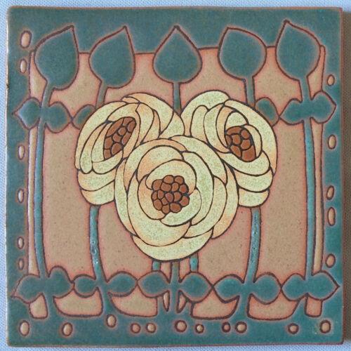 Vintage Arts and Crafts Revival Tile Glasgow Rose Hand Made Studio Pottery