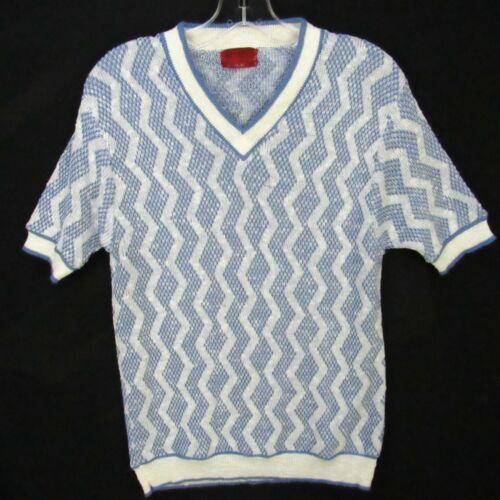 Vintage 60s Kings Road Sweater Shirt Mens M Blue White Zig-Zag Stripes V-Neck