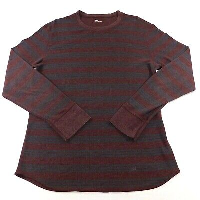 Stripe Long Sleeve Thermal (Gap Mens Maroon Blue Stripe Thermal Long Sleeve Shirt, Large)