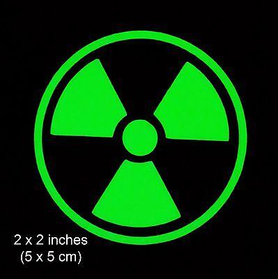 Radioactive Glow in the Dark Decal / Sticker Smartphones Tablet - 2 x 2 Inch
