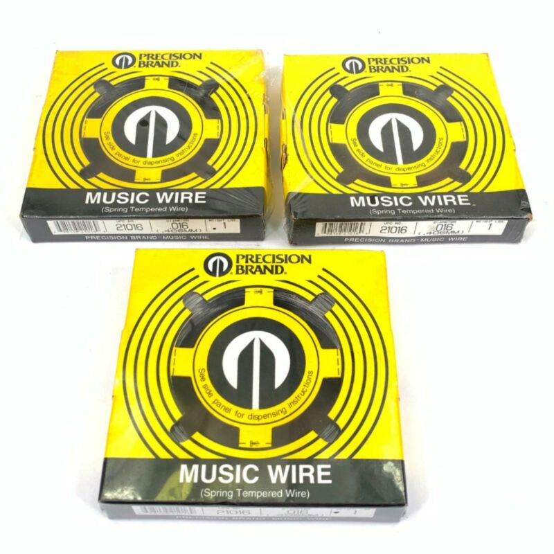 Lot of 3 Precision Brand 21016 .016 Music Wire Spring Tempered Wires