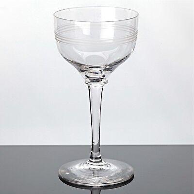 1 Weinglas Weißweinglas Ringe Kreise Ätzdekor ~ Art Deco Gläser Vintage Glas