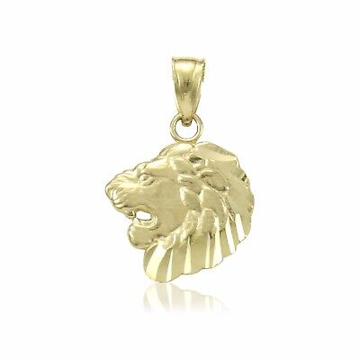 14K Solid Yellow Gold Lion Head Pendant - Face Polished Necklace Charm Men Women