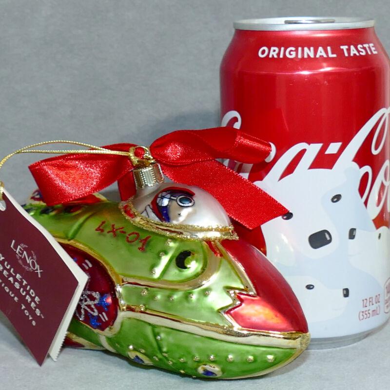LENOX Christmas Ornament Glass POLAND ANTIQUE TOYS YULETIDE TREASURES ROCKETSHIP