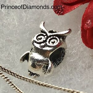 Silver coloured owl bead fits Pandora bracelet