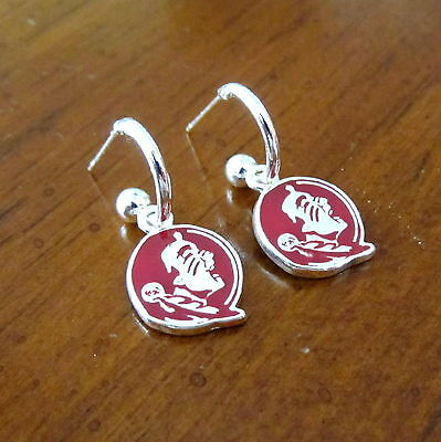 new FSU FLORIDA STATE UNIVERSITY SEMINOLES Red Silver MINI HOOP EARRINGS jewelry Florida State University Earrings