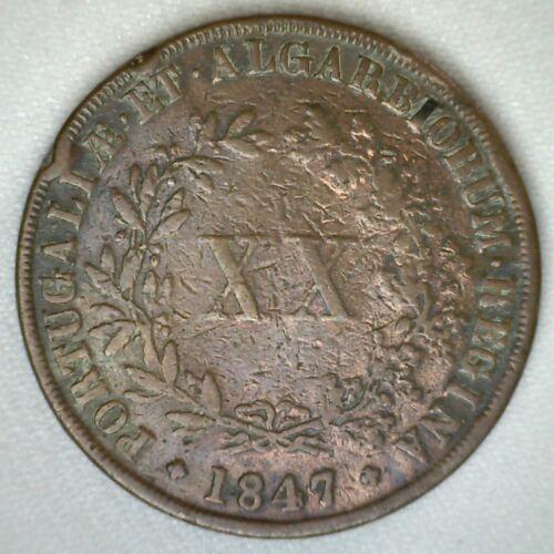 1844 Copper Portugal 20 Reis Portuguese Coin Fine