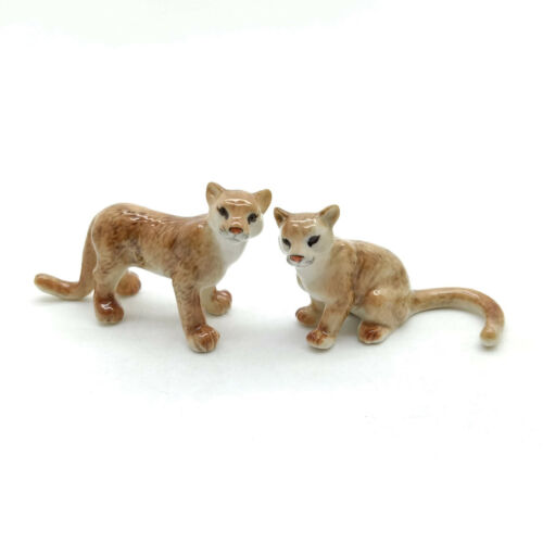2 Puma Ceramic Figurine Wild Animal Statue - CWT027
