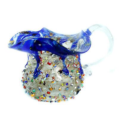 Cristal de Murano Agua la Jarra Garrafa Plateado Azul Hecho a Mano...