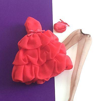 SILKSTONE BARBIE LITTLE RED DRESS ENSEMBLE w DRESS HOSE & HAT
