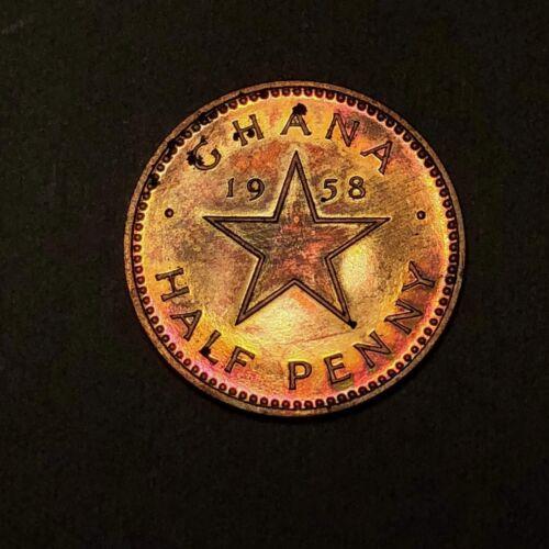1953 Ghana Half Penny - Gem Proof - Colorful Toning