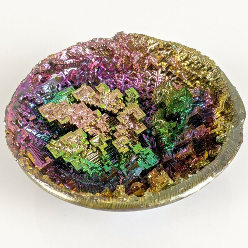 Rainbow Bismuth Geode Crystal Healing Transformation Stone Mineral Educational