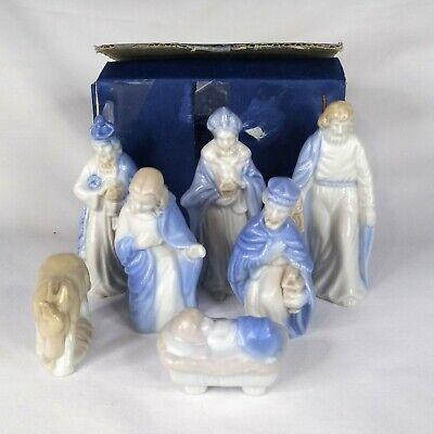 Colonial Candle Nativity Blue White 7 Piece Set Porcelain Japan Vintage