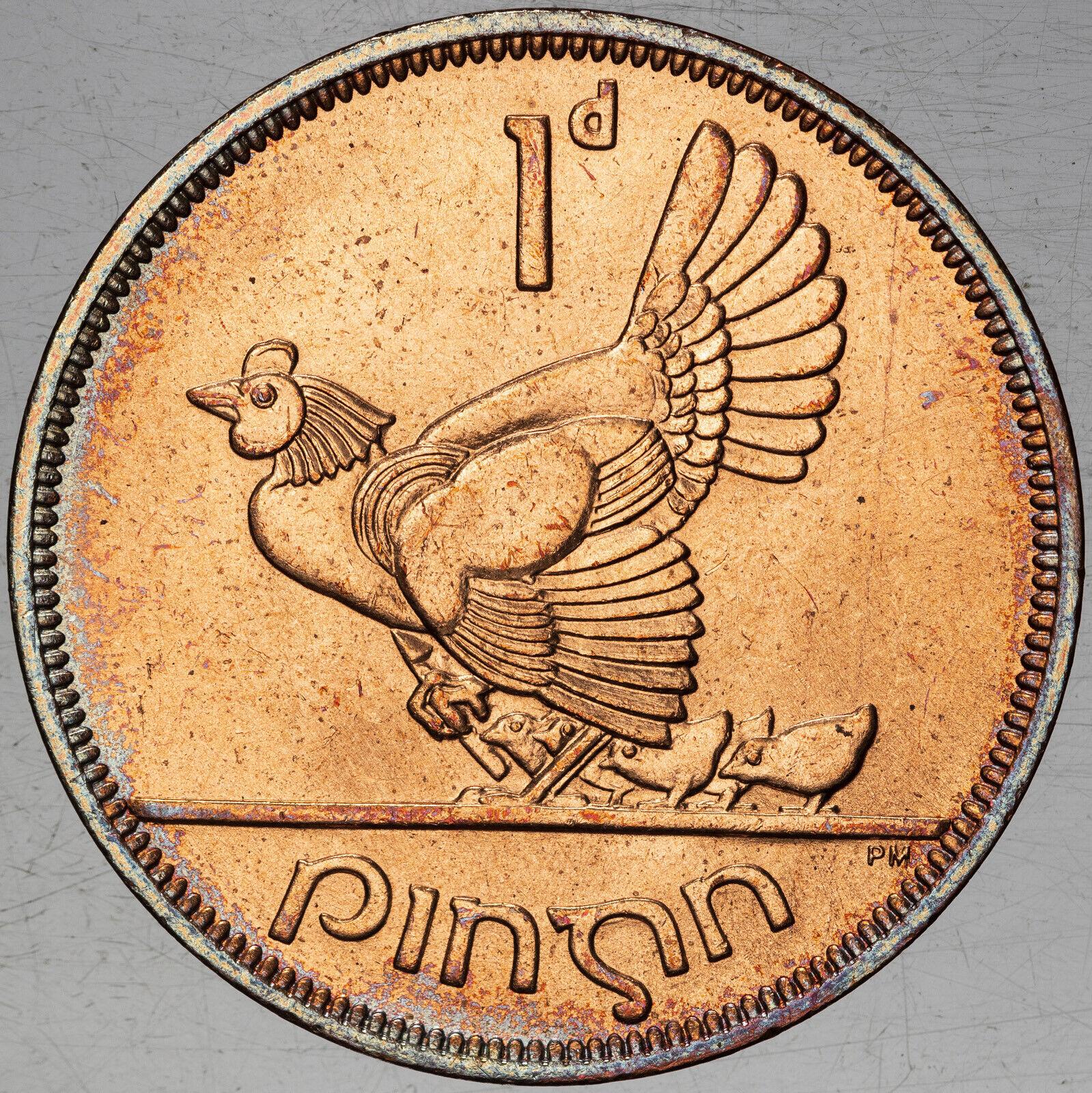 1968 IRELAND 1 PINGIN MS BU NATURAL TONED APPEAL SELECT GEM COIN COLORING - $33.75