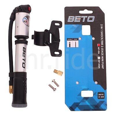 BETO MP-036 High Pressure Bike Pump, 300 Psi Shock Pump, 2 in 1, 2-Stage