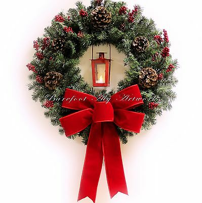 Classy Christmas~Wreath~Timer LED light~Lantern~Pine~Red Bow~Holiday~Door Decór