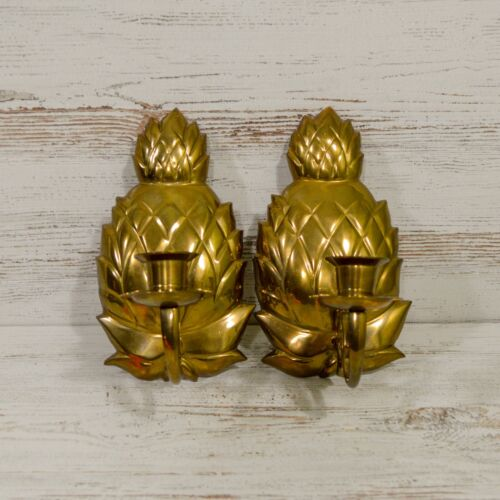 Pair of Heavy Brass Pineapple Wall Hanging Taper Candle Holders