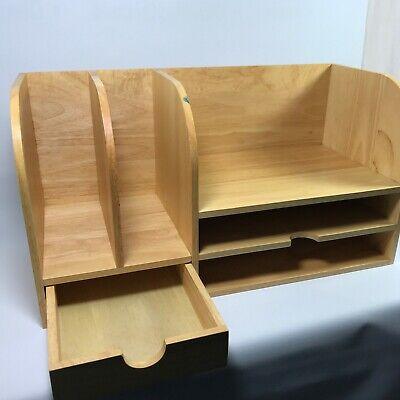 Wooden Box Container Holder Desktop Storage Organizer Home Office Desk Drawer