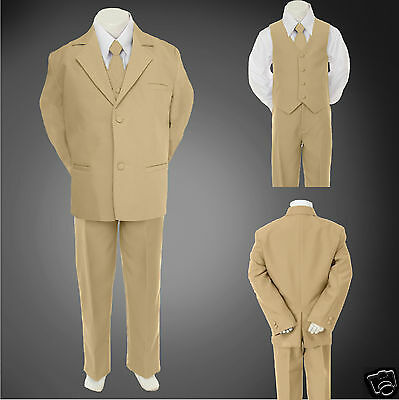 5pc Baby Toddler & Boy Formal Wedding Tuxedo Suit sz S-2T 3T 4T 5-14 16-20 Khaki