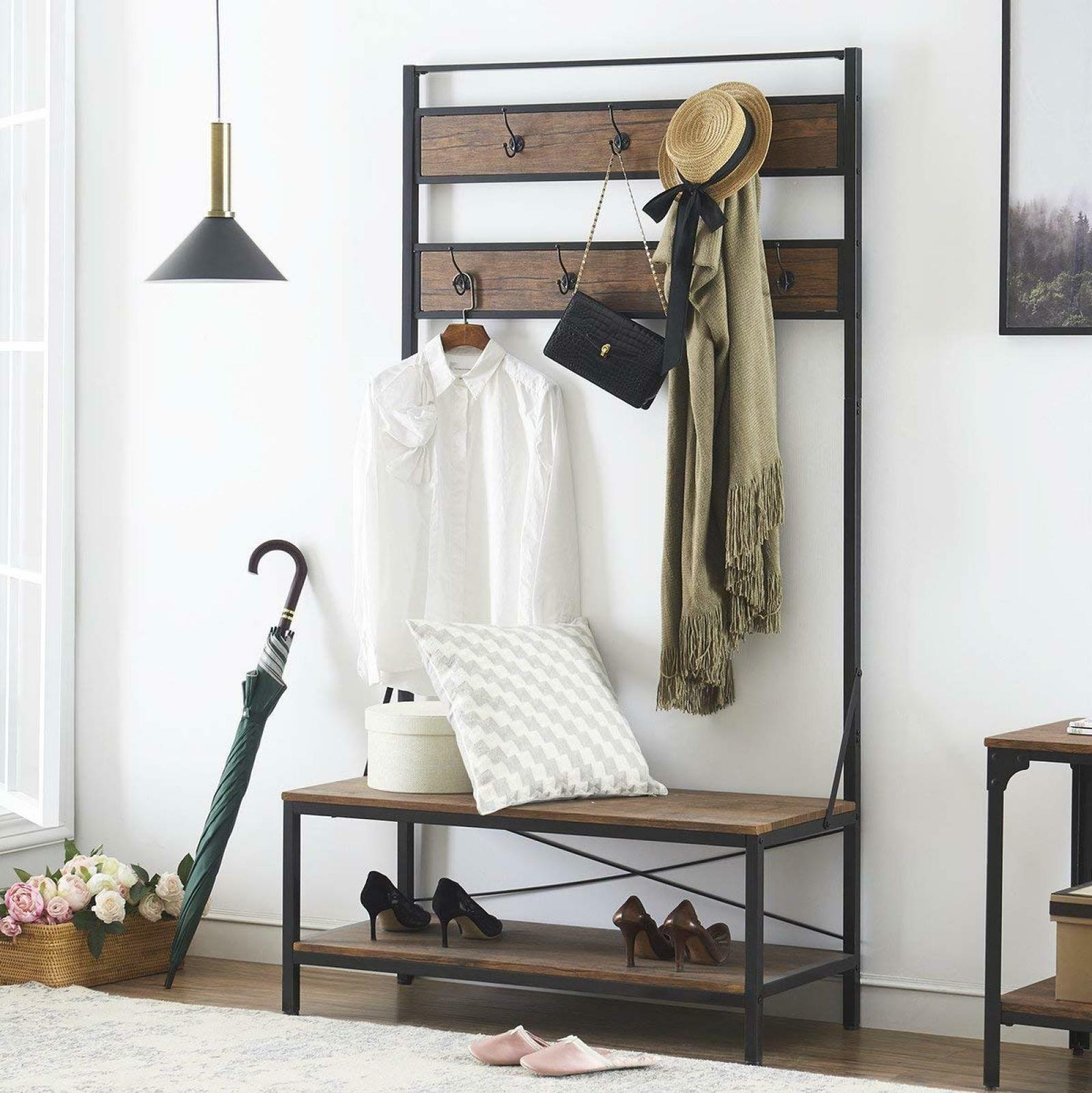 Coat And Shoe Storage.Details About Entryway Coat And Shoe Rack With Seat Shoe Storage Bench Hallway Shelf Hall Tree