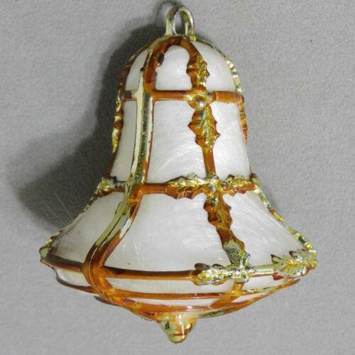 BRADFORD Christmas Ornament Plastic BELL ANGEL HAIR Gold Holly USA SELLER