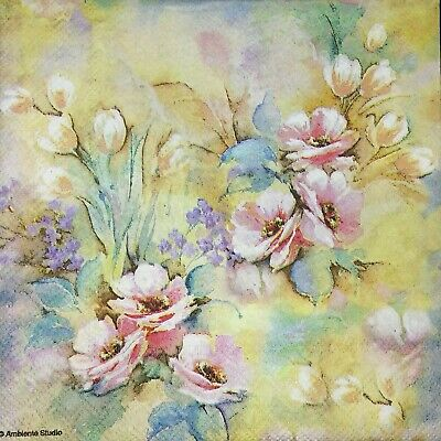 3 x Single Paper Napkins Decoupage Craft Tissue Pink Pastel Dream Flowers M213 (Craft Tissue Paper)
