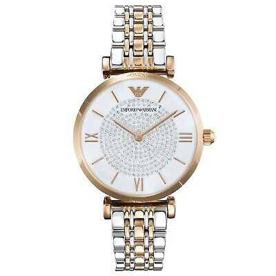 Emporio Armani Ladies Pave' Gianni T-bar watch Rose Gold & silver Strap & Case
