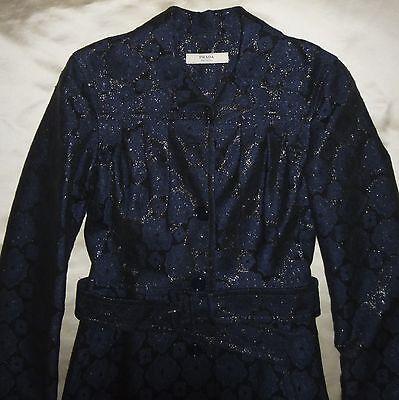NWT PRADA Lame Arabesque Cappotti Leggeri Bleu Metallic Brocade Coat 38 Sz 0-2