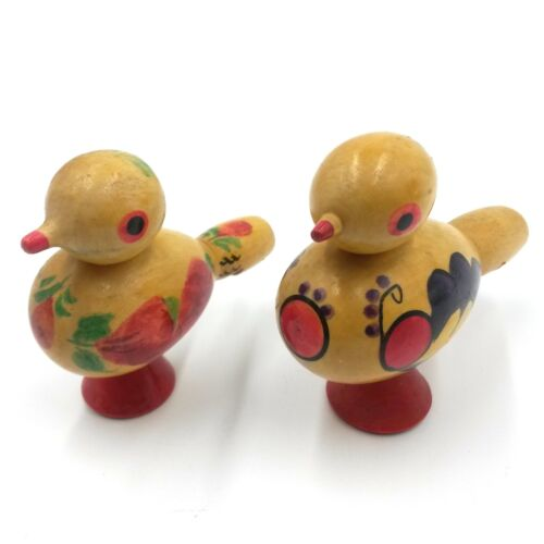 Vintage Wooden 2 Whistles Bird Hand Made Figurines European Romania Related
