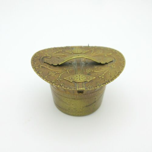 Antique Avery & Sons figural brass needle case miniature hat box