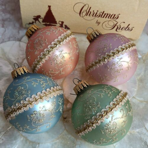 Vintage Christmas Tree Ornaments By Krebs Set Of 4 Pastel Gold Glitter Trim Lace