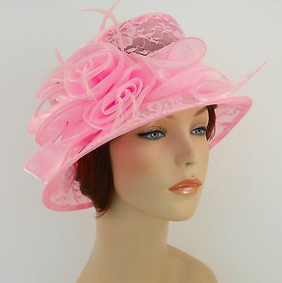New Woman Church Hat Kentucky Derby Hat Organza Lace Dress Hat 1687 Pink